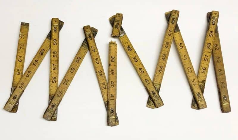 Vintage folding ruler broken into two pieces