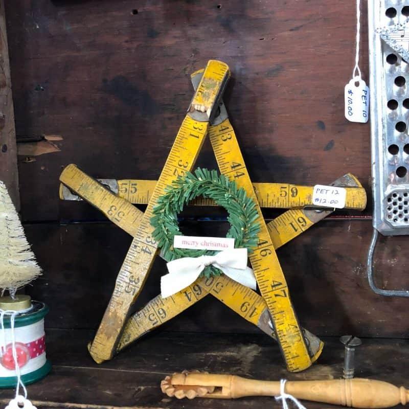Vintage folding ruler star Christmas decoration