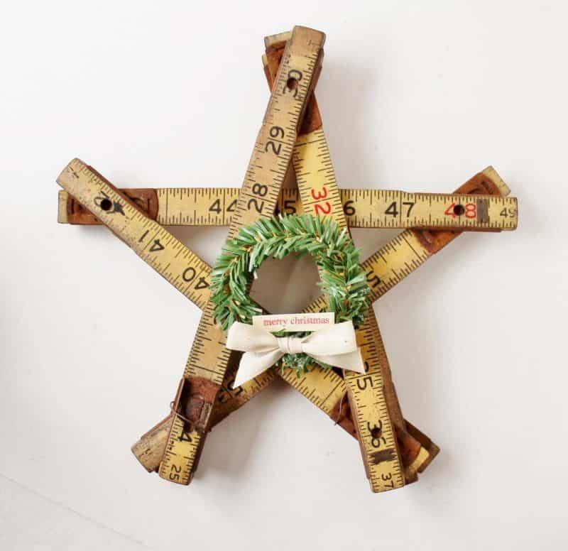 Vintage Folding Ruler Star with mini wreath