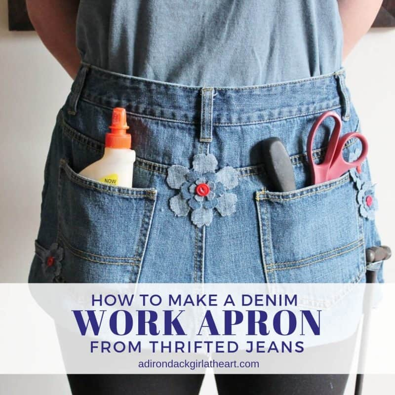 How to Make a Denim Work Apron from Thrifted Jeans adirondackgirlatheart.com