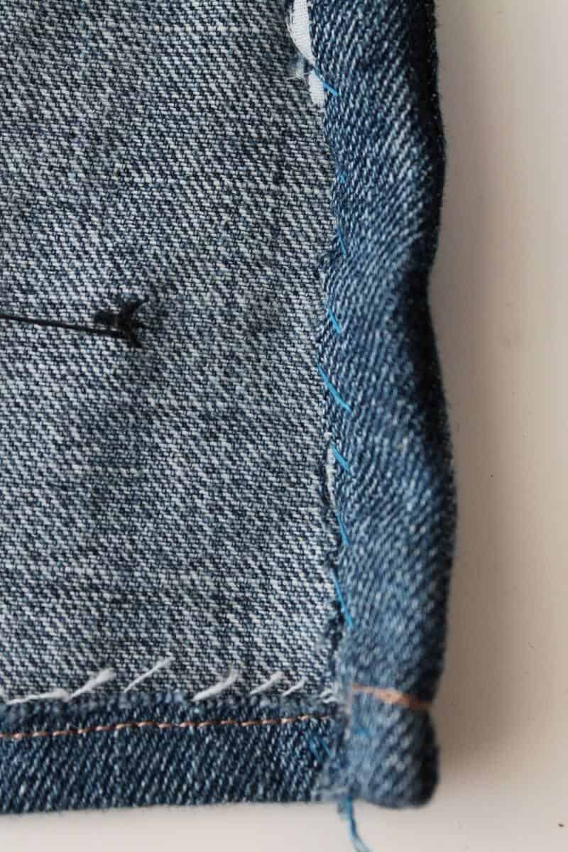 Hemming the sides of your denim work apron